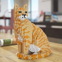 Esculturas de gatos feitas de blocos de montar