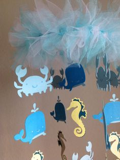 Sea Horse Crib Mobile With Tule Skirt  Sea Animals by MadeByKatee