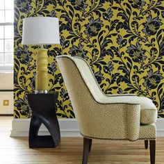Livorette wallpaper in Citron Yellow and theMontclair Chair in Spot On woven fabric in Citron. #Thibaut #AnnaFrench