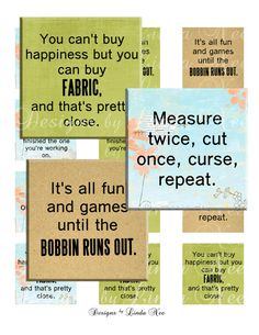 NEW- Quilting and Fabric Quotes 1 (1 x 1 inch) Bottlecap Images - Digital Collage Sheet printable stickers magnet button (Sewing, Fabric)