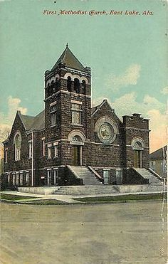 East Lake Alabama AL 1908 First Methodist Church Antique Vintage Potcard
