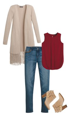 The fringed duster is on trend, stylish and comfortable. Always weekend ready, the duster is your go-to essential for Fall. The fringe detail brings a carefree element while the natural color won't take away from a bold colored blouse. Distressed jeans and suede moto boots with chunky stacked heel make this your new boho chic outfit. | White House Black Market