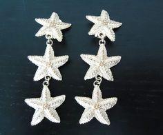 1970's Vintage Goldtone Starfish Clip Earrings by GrannysInspirations on Etsy