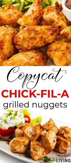 Copycat Chick-Fil-A Nuggets - Yes, they are soaked in pickle juice! Copycat Chick-Fil-A Nuggets - Yes, they are soaked in pickle juice! Copycat Chick-Fil-A Grilled Nuggets Chick Fil A Grilled Chicken Recipe, Chik Fil A Chicken, Chicken Nugget Recipes, Chick Fil A Marinade Recipe, Chick Fil A Recipe Copycat, Baked Chicken, Chickfila Chicken Recipe, Chick Fil A Chicken Nuggets Recipe, Chicken Lunch Recipes