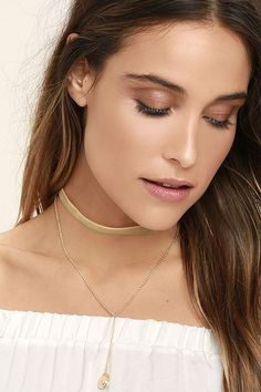 Bewitched Gold and Tan Velvet Choker Necklace Set 4