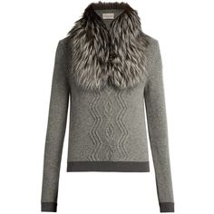 Moncler Detachable fur-collar wool-blend sweater (93.075 RUB) ❤ liked on Polyvore featuring tops, sweaters, light grey, fur collar sweater, cable knit sweater, moncler sweaters, wool-blend sweater and moncler