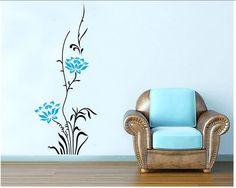 Good G nstige warm romantisch blau lotusbl uuuml te rattan vinyl wandbild kunst wandsticker Wohnzimmer zu hause decor