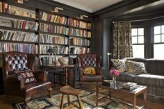 trim color, chairs, book cases: basement
