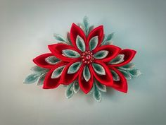 Kanzashi red and silver hair clip by Inkscraft on Etsy https://www.etsy.com/uk/listing/489365072/kanzashi-red-and-silver-hair-clip