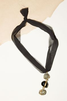 Atelier Inscrire Silk Chiffon Necklace with Pyrite and Obsidian