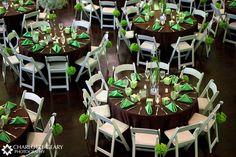 Green and brown wedding table settings