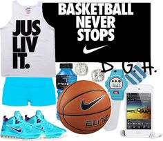 """Basketball Never Stops, Jus Liv It."" by dopegenhope ❤ liked on Polyvore"