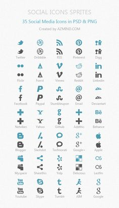 Social Icons Sprites: 35 Ready To Use Icons in PSD, PNG, HTML/CSS