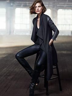 designerleather: Designer Leather Fashions Catherine McNeil for Donna Karan Resort - leather sleeved drape jacket and leather pants / leggings