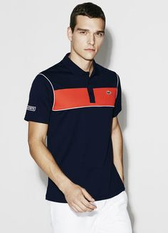 Essential for all your athletic activities and rendered in our piqué ultra-dry fabric that wicks away moisture, this polo features a bold stripe across the chest and a signature croc logo. Mens Printed Shirts, Mens Polo T Shirts, Polo Tees, Boys Shirts, Men's Polo, Polo Shirt Design, Polo Design, Camisa Polo, Polos Lacoste