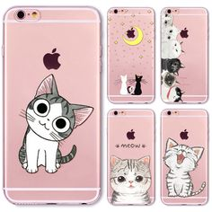 2016 NEW Cute Cat Cases for iphone 6 6s Ultra Thin Soft TPU Gel Silicon Transparent Case Cover Mobile Phone Bag Capa Skin Shell
