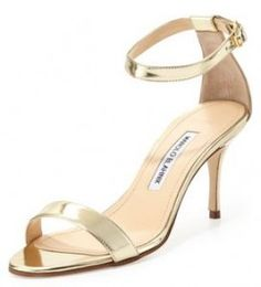 wedding shoes Manolo Blahnik Chaos Metallic Ankle-Wrap Sandal click to see the look for less