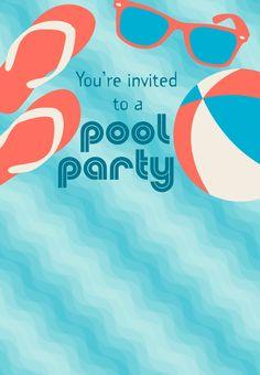 Free Printable Pool Party Stuff Invitation