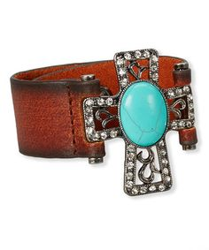 Turquoise & Brown Leather Cross Bracelet