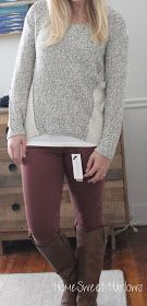 Like the sweater and love the colored skinny jeans with zipper ankle!