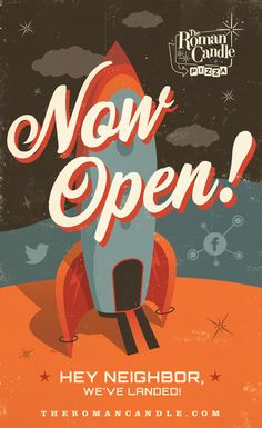 Wayne Koenig›Portfolio›The Roman Candle Now Open! Window Vinyl/Poster