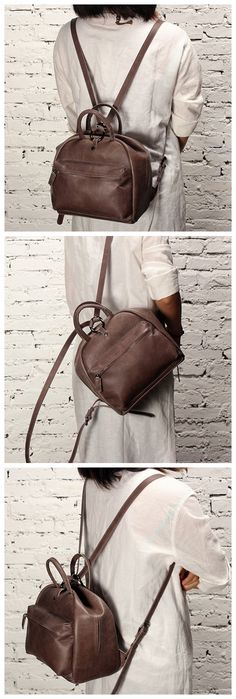 Handmade Genuine Leather School Backpack Casual Rucksack Daily Bag 14123