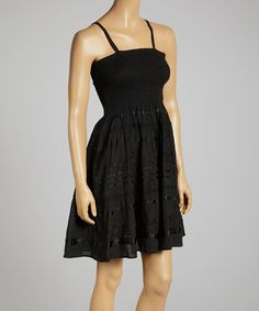 Love this Black Ribbon-Embellished Shirred Dress by Advance Apparels on #zulily! #zulilyfinds