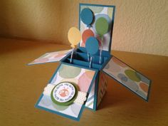 Stampin up card in a box, ballons made with small oval and owl punch