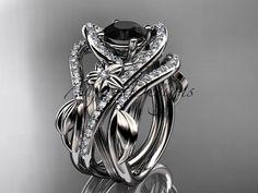 Platinum wedding ring Black Diamond double matching band ADLR369S