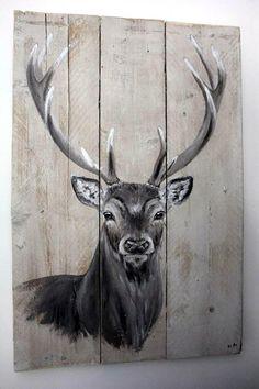 Bekijk de foto van byanschilderingen met als titel Hert op steigerhout  Bekijk en like ''By AN schilderingen'' op facebook voor meer. en andere inspirerende plaatjes op Welke.nl.