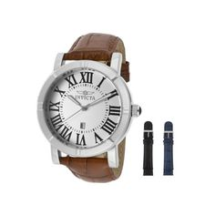 Invicta Mens 13970 Specialty Watch Set Silver Dial Brown Leather Watch with 2 Additional Straps