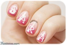 Paint your nails with your best friend's name! Sara loves pink, so here it is her manicure :DD