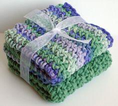 Crochet Washcloths Dishcloths  Set of 2  Purple, Green