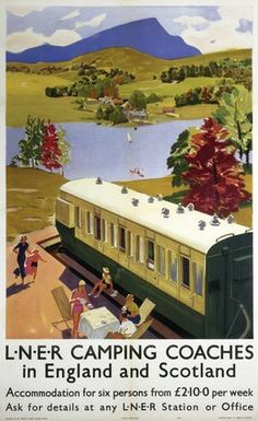 'LNER Camping Coaches', LNER poster, by . Museum quality art prints with a selection of frame and size options, canvases, postcards and mugs. Posters Uk, Train Posters, Railway Posters, Vintage Advertising Posters, Vintage Travel Posters, Vintage Advertisements, British Travel, Train Art, Illustrations Posters