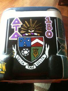 Front Fraternity crest (Delta Tau Delta)