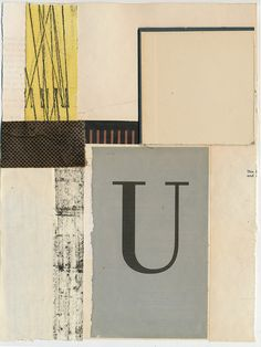 """160408: U 12x9"""" book collage on paper"""