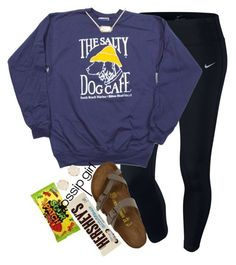 """sleepover w my sisters!!"" by elizabethannee ❤ liked on Polyvore featuring NIKE, Kendra Scott, Birkenstock and Hershey's"