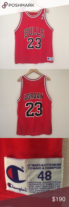 Vintage Michael Jordan '91 Bulls Away Jersey Made by Champion, this gem of a jersey hails from 1991, is in near perfect condition and is very hard to come by with no major flaws. This will fit a men's size large-XL. Price is firm I will not be accepting any offers on this jersey nor will I trade for anything else. Champion Shirts Tank Tops