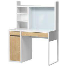 MICKE Computer work station - white/birch effect - IKEA $130