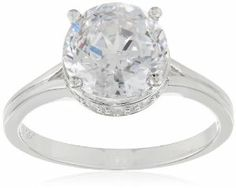 """off Platinum Plated Sterling Silver Facets Collection"""" Create Engagement Ring, Beautiful Engagement Rings, Diamond Engagement Rings, Sterling Silver Flowers, Sterling Silver Rings, Cubic Zirconia Rings, Platinum Ring, Love Ring, Ring Necklace"""