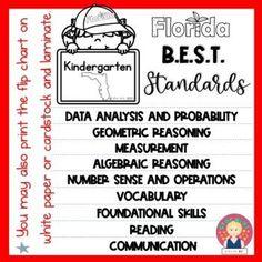 Florida B.E.S.T. Standards Flip Chart for Grade K by Star Kids | TpT Kindergarten Teachers, Teacher Pay Teachers, Star Kids, Marzano, Number Sense, Busy Bee, Flipping, Vocabulary, Back To School