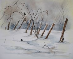 Watercolor on paper - Fine Grain Jolie found in the snowy Ardennes A couple of blackbirds in quest of some seeds Poor little birds! Robins in winter Art by Independent Artists. Painting Snow, Winter Painting, Winter Art, Watercolor Painting Techniques, Watercolor Landscape Paintings, Watercolor Christmas Cards, Watercolor And Ink, Winter Landscape, Landscape Art