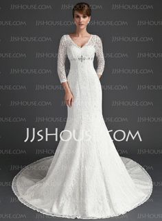 Wedding+Dresses+-+$234.99+-+Mermaid+V-neck+Chapel+Train+Satin+Lace+Wedding+Dress+With+Beadwork+(002011525)+http://jjshouse.com/Mermaid-V-Neck-Chapel-Train-Satin-Lace-Wedding-Dress-With-Beadwork-002011525-g11525