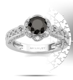 Amarley Black Range - Sterling Silver 1.25 CT. Round Cut Black CZ Cubic Zirconia Vintage Ring