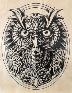 Эскиз орнаментальной совы