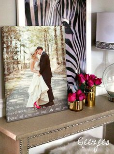 Wedding Photo with first dance lyrics on canvas. I think I could do this. Or at least a version of it.