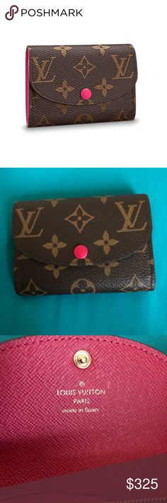 100% Authentic Louis Vuitton ROSALIE COIN PURSE 100% Authentic Louis Vuitton ROSALIE COIN PURSE Brand New Been Use: COLOR Freesia: DETAILED FEATURES  - 4.3 x 3.1 x 1 inches - 2 CC slots - 1 zipped coin pocket - 2 flat pocket - Press stud closure - Monogram coated canvas - Cowhide leather lining - Golden color metallic pieces: Not a smoke free 🏡 No return policy: All sales final😌 Louis Vuitton Bags Wallets
