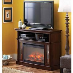 """Better Homes and Gardens Ashwood Road Media Electric Fireplace for TVs up to 45"""", Brown - Walmart.com"""