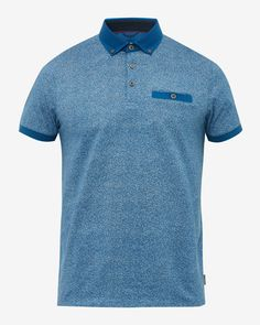 Printed cotton polo shirt - Blue | Tops & T-shirts | Ted Baker UK