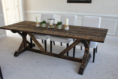 Build a stylish kitchen table with these free farmhouse table plans. They come in a variety of styles and sizes so you can build the perfect one for you. Farmhouse dining room table and Farm table plans. Build A Table, Farmhouse Dining Room Table, Dining Tables, Dining Rooms, Kitchen Dining, Diy Table, Outdoor Dining, Picnic Tables, Table Bench
